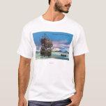 The Mayflower Landing in 1620 Scene T-Shirt