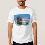 The Mayflower Landing in 1620 Scene Tee Shirt