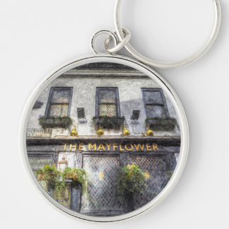 The Mayflower Pub London Art Silver-Colored Round Key Ring