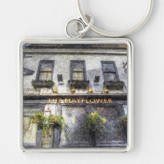 The Mayflower Pub London Art Silver-Colored Square Key Ring