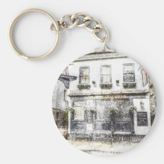The Mayflower Pub London Snow Basic Round Button Key Ring