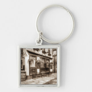 The Mayflower Pub London Vintage Silver-Colored Square Key Ring