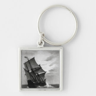 The Mayflower Silver-Colored Square Key Ring