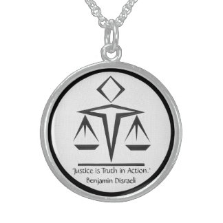 The Meaning of Justice - Black and White Sterling Silver Necklace