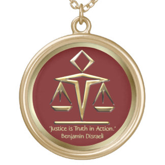 The Meaning of Justice Golden Scales Rosewood Red Gold Plated Necklace