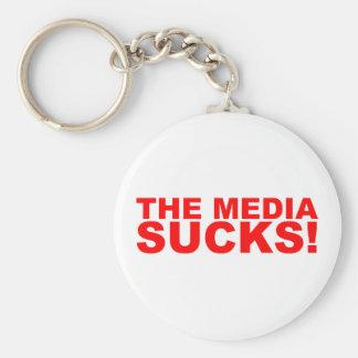The Media Sucks! Basic Round Button Key Ring