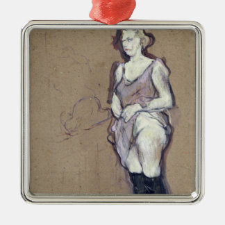 The Medical Inspection: Blonde Prostitute, 1894 Silver-Colored Square Decoration