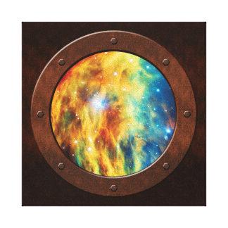 The Medusa Nebula Steampunk Porthole Stretched Canvas Print
