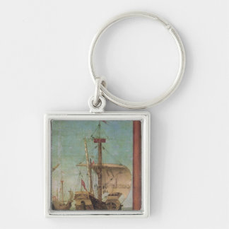The Meeting and Departure of the Betrothed Silver-Colored Square Key Ring
