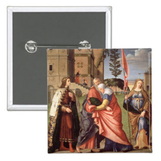 The Meeting at the Golden Gate with Saints, 1515 ( 15 Cm Square Badge