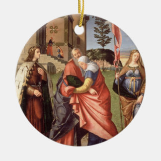 The Meeting at the Golden Gate with Saints, 1515 ( Round Ceramic Decoration