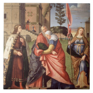 The Meeting at the Golden Gate with Saints, 1515 ( Tile