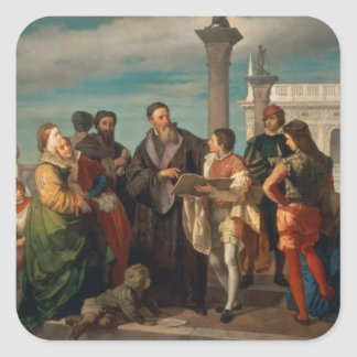 The Meeting Between Titian (1488-1576) and Verones Square Sticker