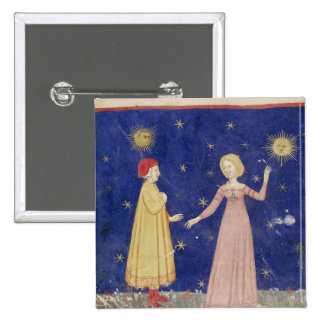 The Meeting of Dante  and Beatrice 15 Cm Square Badge