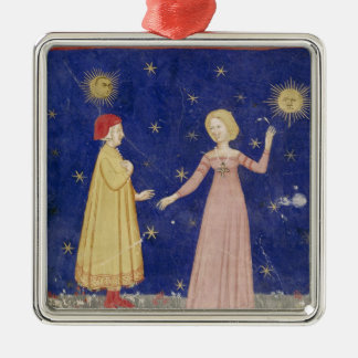 The Meeting of Dante  and Beatrice Silver-Colored Square Decoration