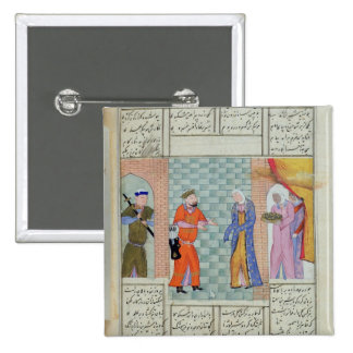 The meeting of Khosro and Chirin in the palace 15 Cm Square Badge