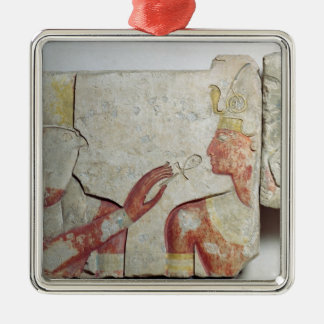 The Meeting of the Pharaoh and Horus Silver-Colored Square Decoration