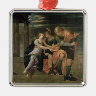 The Meeting of Theagenes and Chariclea Silver-Colored Square Decoration