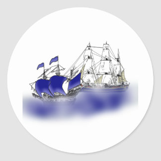 The Meeting of Two Tall Ships Round Stickers