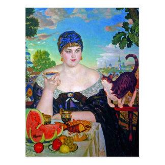 The Merchant's Wife & Cat by Boris Kustodiev Postcard