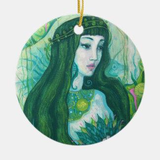 The Mermaid, acrylic painting, fantasy art, green Round Ceramic Decoration
