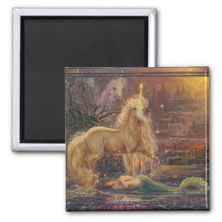 The Mermaid and the Unicorn Square Magnet