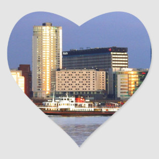 The Mersey Ferry & LIverpool Waterfront Heart Sticker