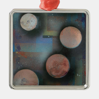 The metallic moons Silver-Colored square decoration