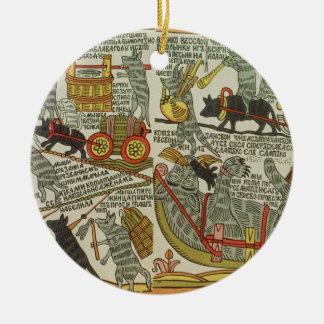 The Mice Bury the Cat, Russian, late 18th century Round Ceramic Decoration
