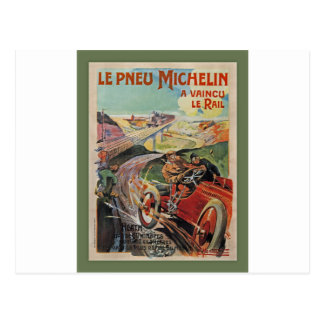 The Michelin Tires ~  Defeated The Rail 1905 Postcard