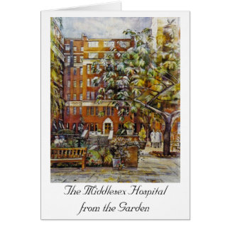 The Middlesex Hospital from the Garden Notelet Note Card
