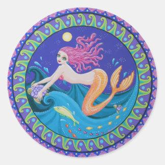 The midnight mermaid round sticker