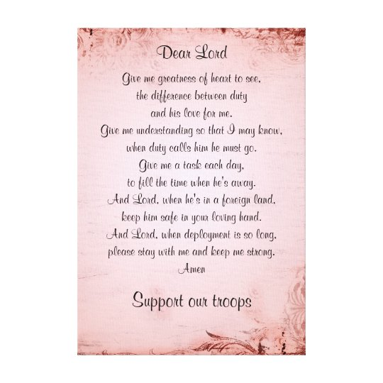 The military wife's prayer canvas print