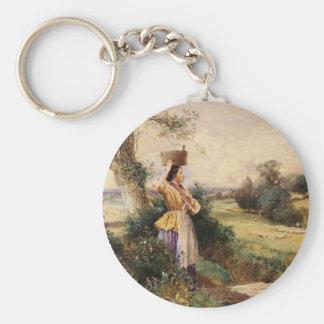 The Milk Maid - Myles Birket Foster Basic Round Button Key Ring