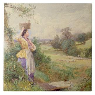 The Milkmaid, 1860 Large Square Tile