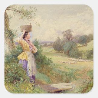 The Milkmaid, 1860 Square Sticker