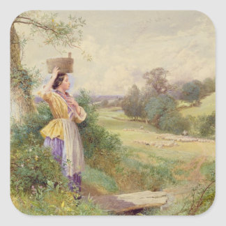 The Milkmaid, 1860 Square Sticker