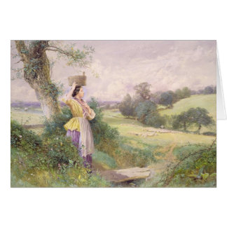 The Milkmaid, 1860 (w/c on paper) Card