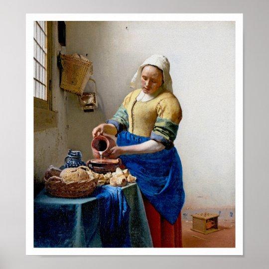 The Milkmaid by Jan Vermeer - Vintage Art