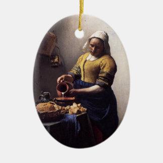 The Milkmaid by Johannes Vermeer Christmas Ornament