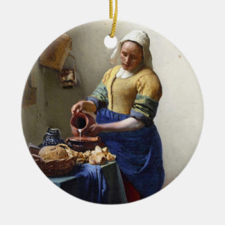 The Milkmaid, c.1658-60 (oil on canvas) Round Ceramic Decoration