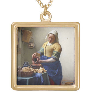 The Milkmaid, c.1658-60 (oil on canvas) Square Pendant Necklace