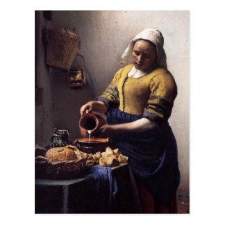 The Milkmaid in detail by Johannes Vermeer Postcard