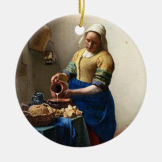 The Milkmaid, Jan Vermeer Round Ceramic Decoration