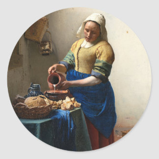The Milkmaid, Jan Vermeer Round Stickers