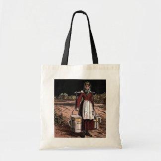 """""""The Milkmaid"""" Vintage Illustration Budget Tote Bag"""