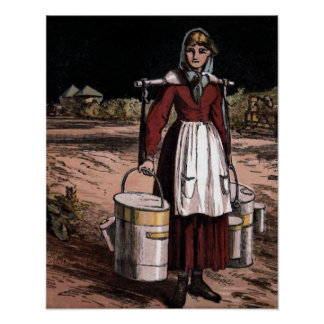 """""""The Milkmaid"""" Vintage Illustration Poster"""