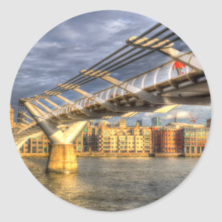 The Millennium Bridge London Classic Round Sticker