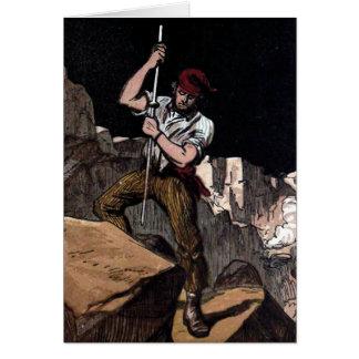 """The Miner"" Vintage Illustration Greeting Card"