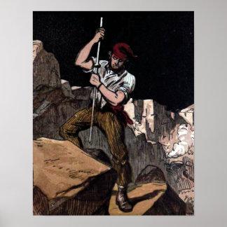 """""""The Miner"""" Vintage Illustration Poster"""